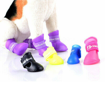 4Pcs WaterProof Pet Rain Shoes Anti-slip Rubber Boots Socks for Small Dog Size S