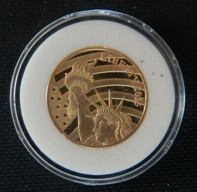 2015 Cook Islands Statue Of Liberty 1/2 oz .24 Pure Gold $25 Coin BU