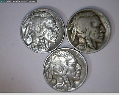 1936 P D S Buffalo Nickels ( # 4s66 )