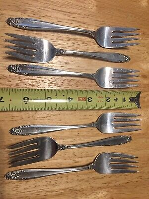 6 Sterling Silver Salad Forks in Prelude by International Silver 6.8Toz