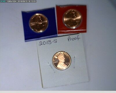 2013 P D S 1c Lincoln Shield Cent Unc in mint holders and Proof