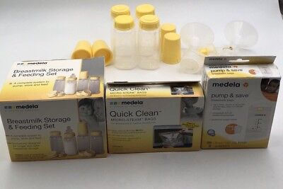 MEDELA - QUICK CLEAN MICRO STEAM BAGS / PUMP SAVE/ STORAGE. StORAGE IS PREOWNED.