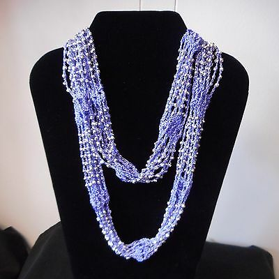 Beaded Scarf With Silver or Gold Plated Plastic Beads by Bijorca