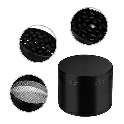 4 Layer Magnetic 2 Inch Black Tobacco Herb Grinder Spice Zinc Alloy With Scraper