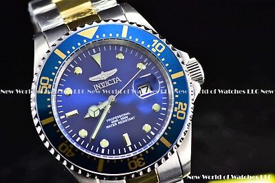 Invicta Men's 43mm Pro Diver Coin Edge Quartz IP 2 Tone Azure Blue Dial SS Watch