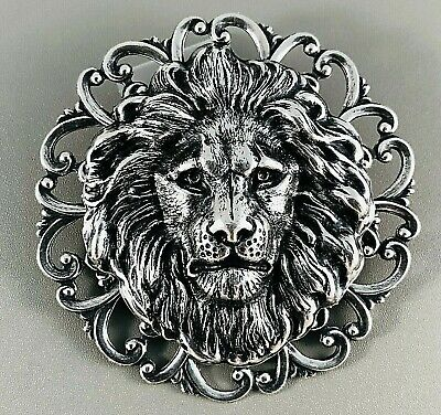 LION Lrg BROOCH Hat PIN Game of Thrones RENAISSANCE MEDIEVAL Sterling Silver plt