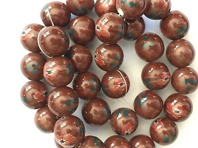 30 Brown Ceramic Beads - Round w/ Painted Flowers Unique Jewelry Porcelain