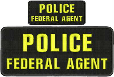 POLICE FEDERAL AGENT embroidery patch  4x10 and 2x5 hook navy yellow
