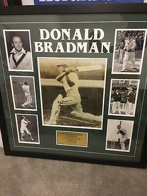 Hand Signed Sir Donald Bradman Framed Photo College with Plaque - Comes with COA
