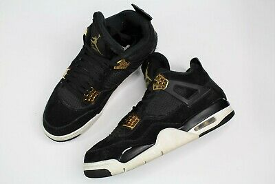 e6b2af5fd005de Nike Air Jordan IV 4 Retro Royalty 308497-032 Black Suede Gold Mens Sz 8.5