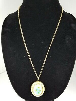 Ladies Vintage Gold Plated Acrylic Cameo with Faux Pearls and chain
