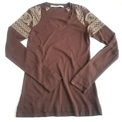 b8b626f91ef Athleta Long Sleeve Embroidered Cotton Tunic Tee Boho Casual Brown  Athleisure M