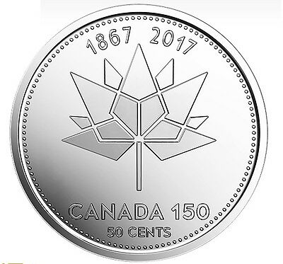 2017  CANADA 50-CENT UNC (Canada 150 Official Logo) FROM MINT ROLL