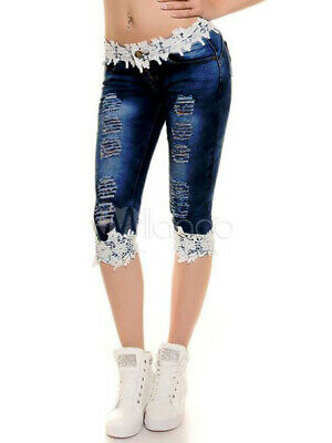 Women's Ripped Jeans Blue Lace Washed Skinny Casual Denim Capris Pants  New L
