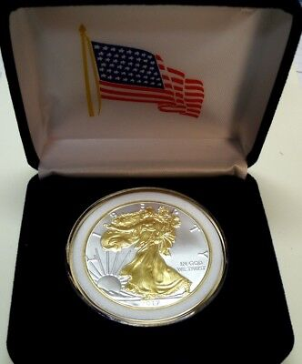 *GIFT! 1 oz-*2019 FN AM SILVER EAGLE$1CNS(BU)+24KT GOLD GILDED+WR+AM FLAG>PR CS