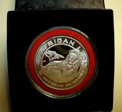 *Perfect Gift! 1 Troy oz Fn Silver African Lion(Proof-Like)$2Niue +Pres Box-2017