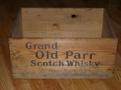 Vintage GRAND OLD PARR Scotch Whisky Wooden Box
