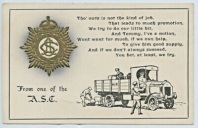 Ww1 Uk Patriotic Npu Postcard Embossed Army Service Corps Delivery Truck  X74
