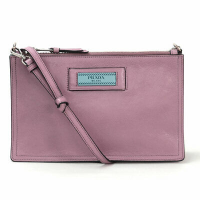 Auth PRADA GLACE'CALF Shoulder Bag LOTO/ASTRALE(Dark Pink) Leather 1NE006 r6728