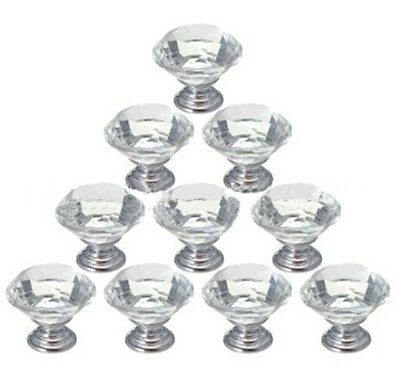 16PC 40MM Kitchen Door Knobs Handles Clear Crystal Glass Cupboard Drawer Cabinet