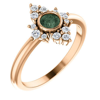 Chatham Created Alexandrite & 1/5 CTW Diamond Halo-Style Ring In 14K Rose Gold