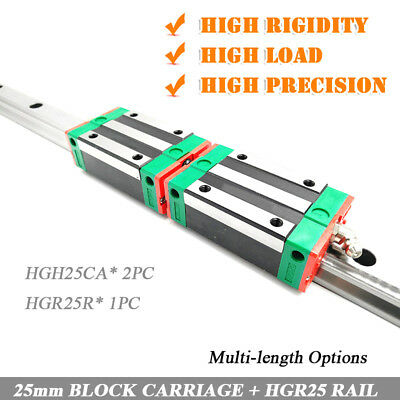 HIWIN HGR25 Linear Guide Railway +2pc HGH25CA Sliding Block Carriages Engraving