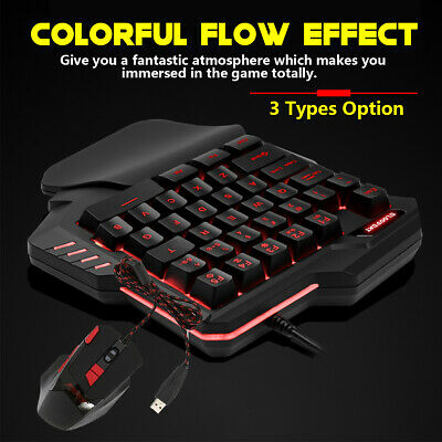 Mechanical One-Handed Gaming Keyboard & Mouse Game Keypad USB Wired Backlit
