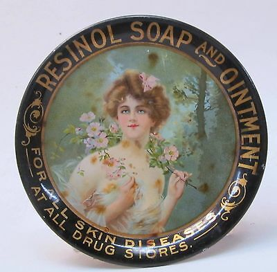 "circa 1910 RESINOL SOAP & OINTMENT Type ""A"" tin litho tip tray ashtray"