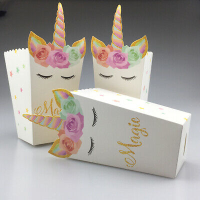 12PCS Unicorn Popcorn Candy Boxes Paper Bag Home Birthday Party Supplies Decor