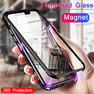 360° Magnetic Adsorption Glass Case Cover for Samsung Galaxy M10 M20/A30 A50 S10