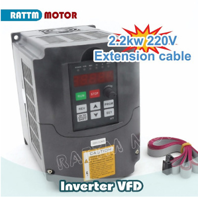 Huan Yang 2.2KW 220V 3HP Variable Frequency Drive Inverter VFD+2m Cable for CNC