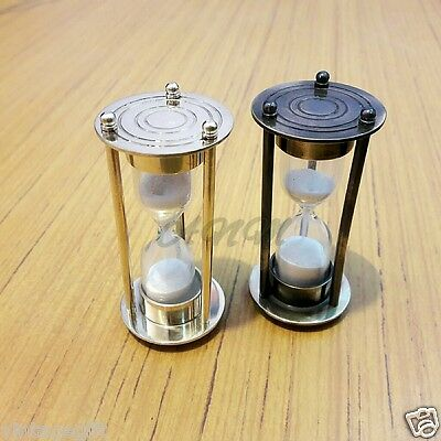 Set Of Two Antique Brass Sand Timer Hourglass Nautical Collectible Gift