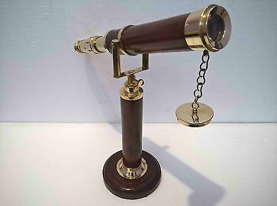 Telescope Solid Brass Wooden Telescope With Stand Collectible Nautical Gift