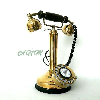 Antique Style Vintage Brass Royal Retro Design Telephone Rotary Dial Candlestick