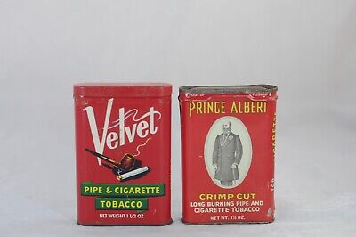 Vintage Early Velvet Brand Prince Albert Crimp Cut Tobacco Tin Pipe and Cigarett