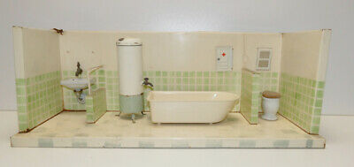 Blech Badezimmer, Kibri Made in US Zone, Germany, Keramik, Waschbecken, Toilette