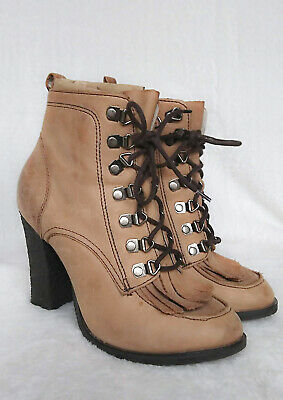 Ladies River Island Brown Leather Ankle Boots size 4