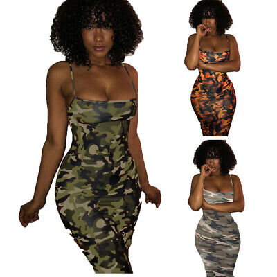 22b4ec82f18 Usa 3 Colors Strap Camouflage Military Tank Maxi Dress Sundress S M L Xl  Xxl 3Xl