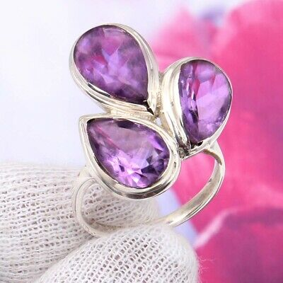 925 Solid Sterling Silver AAA Quality AMETHYST Gemstone Ring Size 7 US !! C-1029