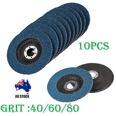 "10X 5"" 125mm 40/60/80 Grit Zirconia Flap Discs Wheels Angle Grinder High Density"