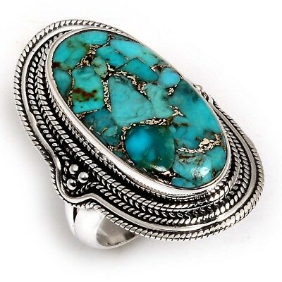 Beautiful BLUE COPPER TURQUOISE 925 Sterling Silver Ring Size US 7 C-7245