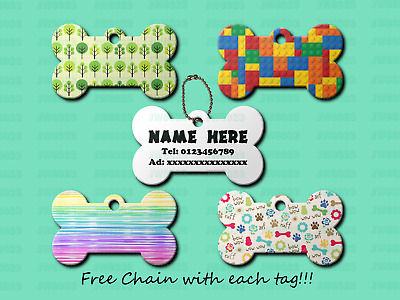 Personalized cute multi color bone shape dog cat pet ID Name Tag Double Side
