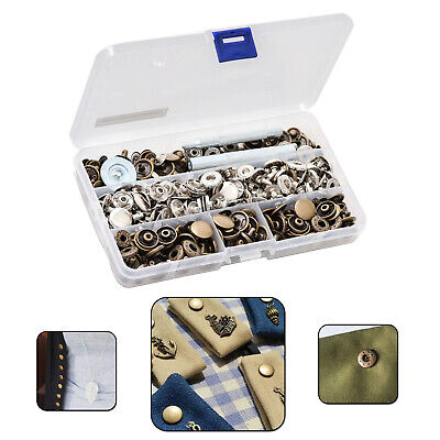 15mm 100pcs S-Spring Press Stud Buttons Fixing Hand Tool Kit Sewing Repair Craft