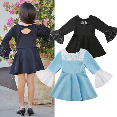 Toddler Baby Girls Dress Lace Flare Long Sleeve Princess Party Mini Dresses