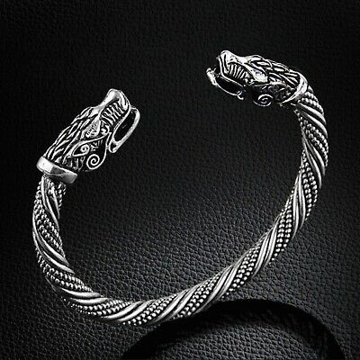 Men's Solid Viking Dragon Odin's Twist Stainless Steel Norse Cuff Bangle Gift UK