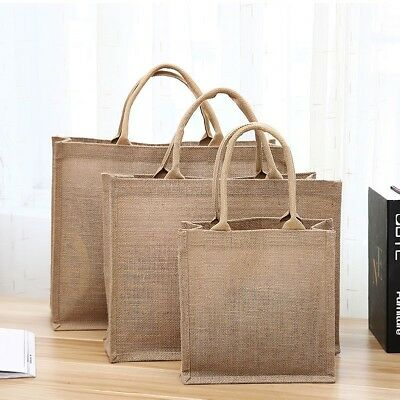 1PC Jute Handbag Solid Reusable Lunch Shopping Shoes Box Burlap Tote Bags Holder