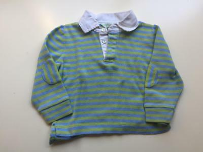 Lucy Sykes New York Toddler Boys Blue Green Striped Rugby Polo Shirt Size 18 mo