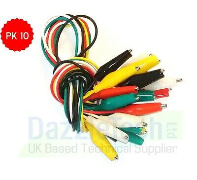 Crocodile/Aligator Test Leads/Clamps Wire With Clips Coloured Cable Wire x 10