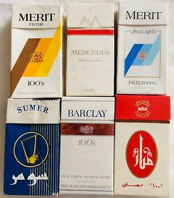 6 Assorted Foreign Superking Cigarette Packs Empty