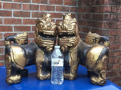 Antique Pair Chinese Buddhist Carved Wood Foo Dog Lion Statues Lacquer Gilt 15""